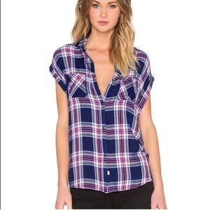 Rails Britt Navy Magenta Flannel Short Sleeved Top